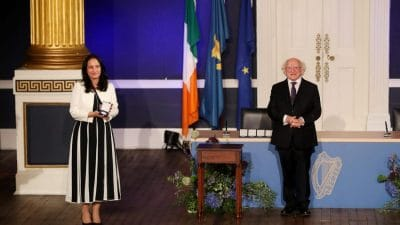 Catherine Martin and President Higgins