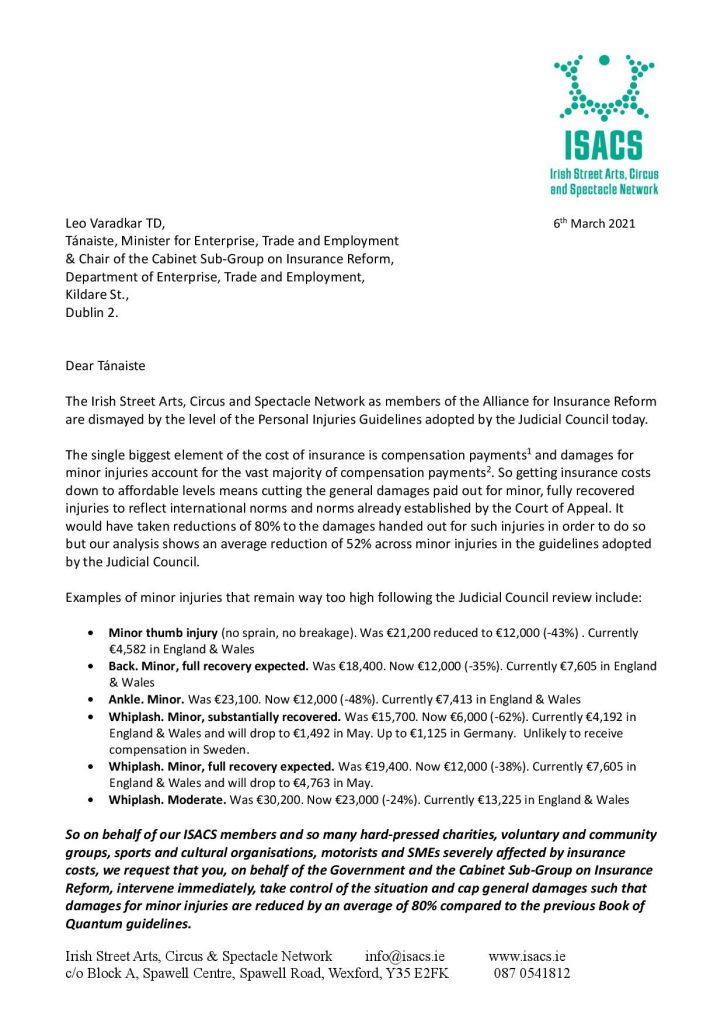 Letter To An Tanaiste Leo Varadkar 06.03.2021 Page 001